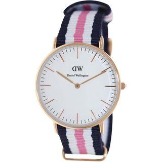 Daniel Wellington Women's 0506DW 'Southampton' Blue, White and Pink Nylon Watch
