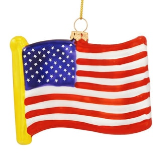 Usa Flag Glass Ornament American United States Christmas Tree Hanging