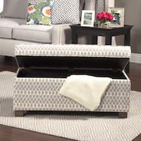 HomePop Grey Diamond Fabric/Wood/Foam Large Decorative Storage Ottoman