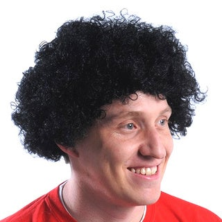 Black Curly Fro Wig Afro Adult Mens Andre The Giant 70's Costume