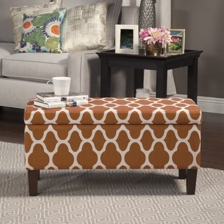 HomePop Geo Rust Large Decorative Storage Ottoman