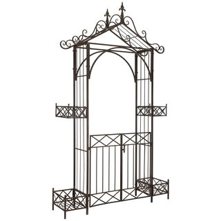 Safavieh Outdoor Living Destiny Rustic Brown Gated Arbor