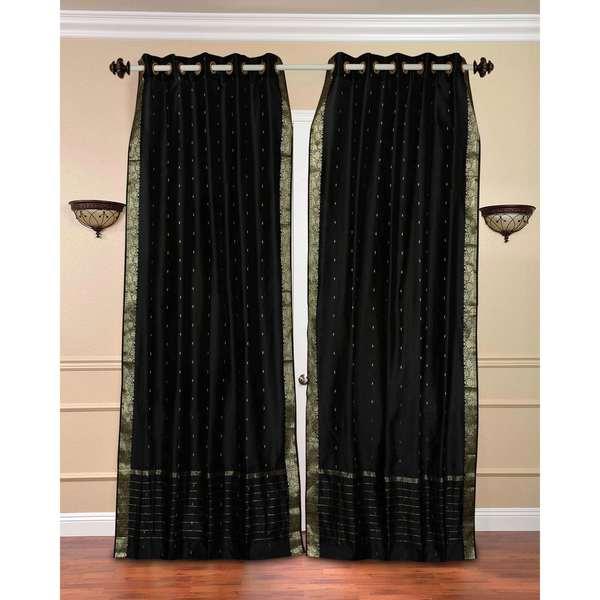 Handmade 43 X 84 Black Ring Top Sheer Sari Curtain Panel India