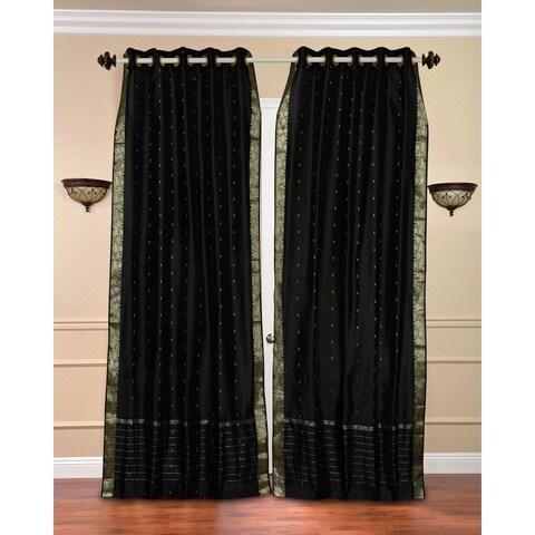 Handmade 43 x 84 Black Ring-top Sheer Sari Curtain Panel (India)