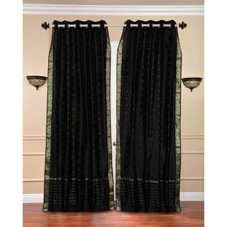 Handmade 43 x 84 Black Ring-top Sheer Sari Curtain Panel (India)