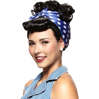 Rosie The Riveter Black Wig with Attached Bandana Curly Updo Adult Costume