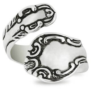 Silver-Wear Swirls Sterling Silver Antique Finish Waving Pattern Motif Spoon Ring