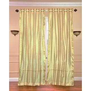 Handmade 43 x 84 Gold Ring-top Sheer Sari Curtain Panel (India)