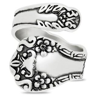 Silver-Wear Swirls Sterling Silver Floral Design Spoon Ring