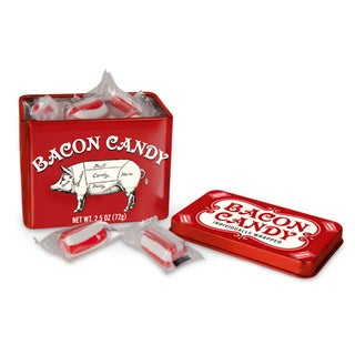 Individually Wrapped Bacon Candy in Tin