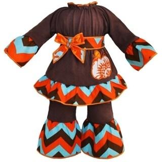 AnnLoren 2-piece Autumn Chevron Pumpkin 18-inch Doll Outfit