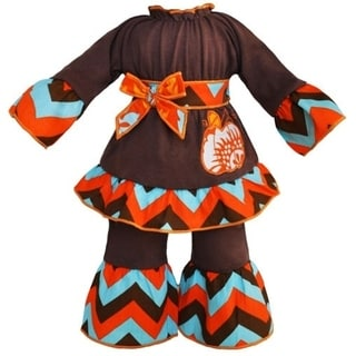 AnnLoren 2-piece Autumn Chevron Pumpkin 18-inch Doll Outfit