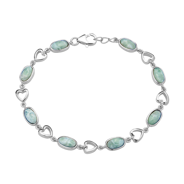 La Preciosa Sterling Silver Natural Larimar Oval and Hear...