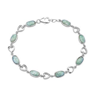 La Preciosa Sterling Silver Natural Larimar Oval and Heart Link Bracelet