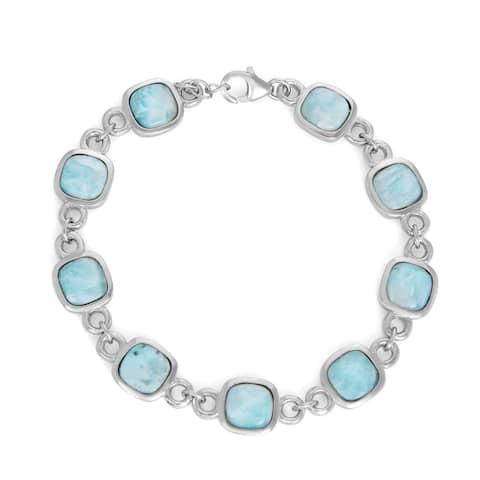 La Preciosa Sterling Silver Natural Larimar Square Link Bracelet