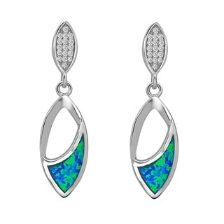La Preciosa Sterling Silver Created Blue Opal and Cubic Zirconia Earrings