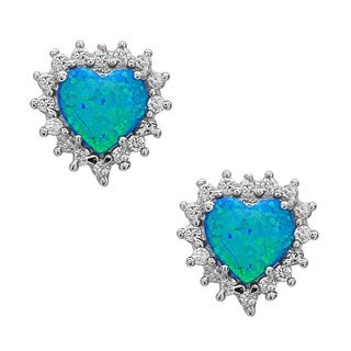 La Preciosa Sterling Silver Created Opal and Cubic Zirconia Heart Stud Earrings