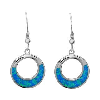 La Preciosa Sterling Silver Created Opal Open Circle Earrings