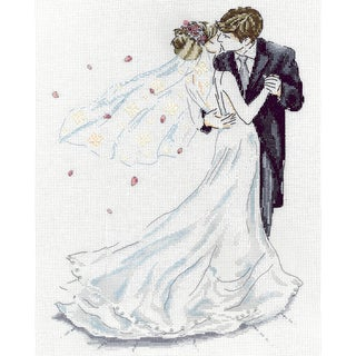 Wedding Couple Counted Cross Stitch Kit 10inX14in 14 Count