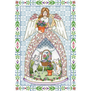 Kitty Angel Counted Cross Stitch Kit 14inX20in 14 Count