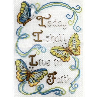 Live In Faith Mini Counted Cross Stitch Kit 5inX7in 14 Count