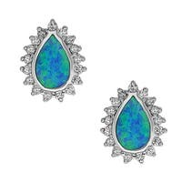 La Preciosa Sterling Silver Created Opal and Cubic Zirconia Pear Stud Earrings