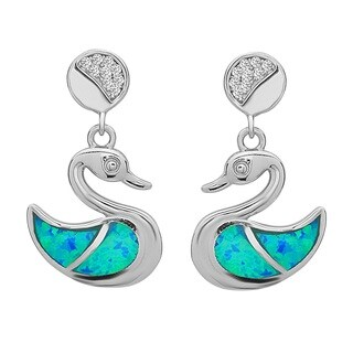 La Preciosa Sterling Silver Blue Opal and Cubic Zirconia Duck Earrings