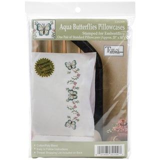 Stamped Pillowcase Pair For Embroidery 20inX30in Aqua Butterfly