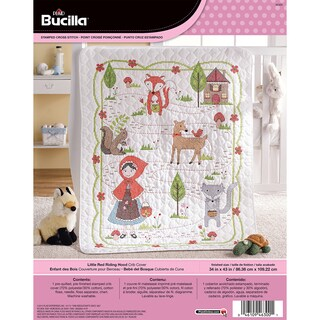 Little Red Riding Hood Crib Cover Stamped Cross Stitch Kit 34inX43in