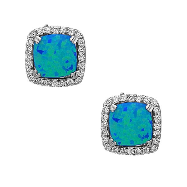 La Preciosa Sterling Silver Created Opal and Cubic Zirconia Square Stud Earrings