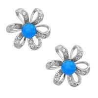 La Preciosa Sterling Silver Created Opal and Cubic Zirconia Flower Stud Earrings