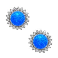 La Preciosa Sterling Silver Created Opal Bead and Cubic Zirconia Circle Stud Earrings
