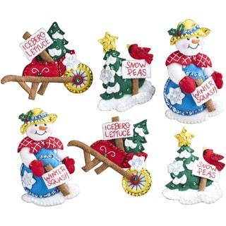 Snow Garden Ornaments Felt Applique Kit 4inX5in Set Of 6