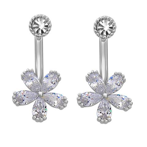 La Preciosa Sterling Silver Cubic Zirconia and Crystal Flower Ear Cuff Earrings