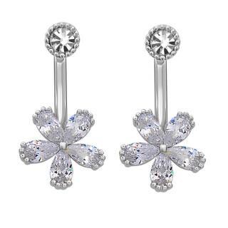 La Preciosa Sterling Silver Cubic Zirconia and Crystal Flower Ear Cuff Earrings|https://ak1.ostkcdn.com/images/products/10293035/P17407221.jpg?impolicy=medium