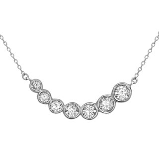 La Preciosa Sterling Silver Bezel-set Cubic Zirconia Curved Bar Necklace