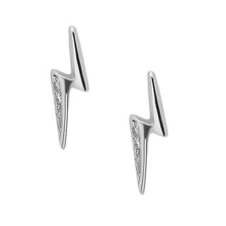 La Preciosa Sterling Silver Cubic Zirconia Lightning Bolt Stud Earrings