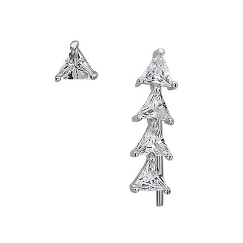 La Preciosa Sterling Silver Triangle Cubic Zirconia Crawler and Single Stud Earrings