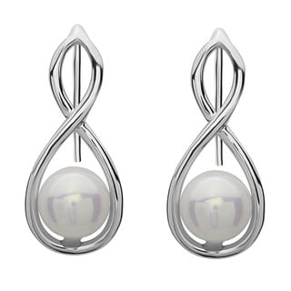 La Preciosa Sterling Silver Faux Pearl Infinity Earrings