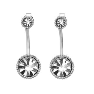 La Preciosa Sterling Silver Crystal Ear Cuff Earrings