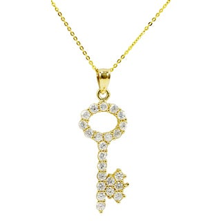 14k Yellow Gold Cubic Zirconia Key Necklace