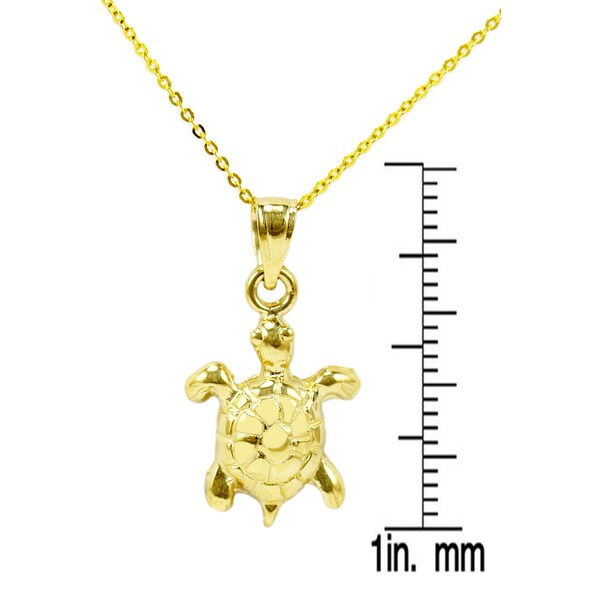 14K Yellow Gold Turtles Pendant on an Adjustable 14K Yellow Gold Chain Necklace