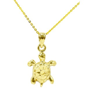 14k Yellow Gold Sea Turtle Necklace
