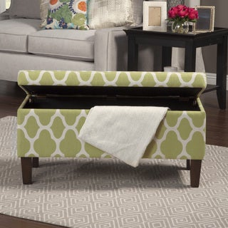 HomePop Large Geometric Green Decorative Storage Ottoman