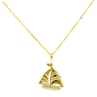 14k Yellow Gold Petite Sailboat Necklace