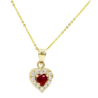 14k Yellow Gold Red Cubic Zirconia Heart Necklace