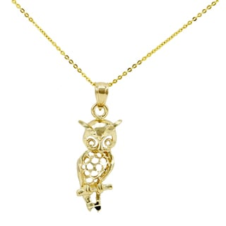 14k Yellow Gold Diamond Cut Owl Necklace