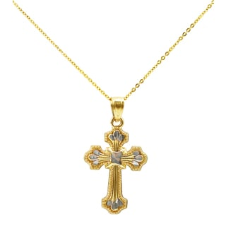 14k Two-tone Gold Cross Necklace