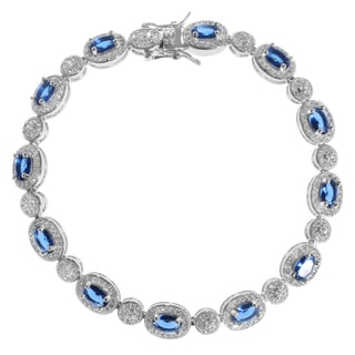 Journee Collection Sterling Silver Cubic Zirconia Halo Bracelet