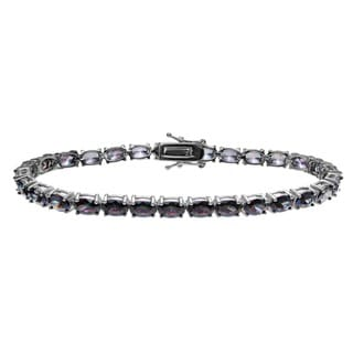 Journee Collection Sterling Silver Oval Mystic Cubic Zirconia Tennis Bracelet